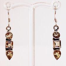 925 Sterling Silver Semi-Precious Yellow Citrine Drop Earrings