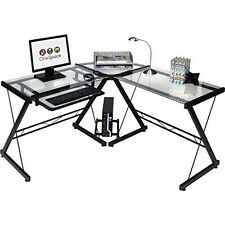 Onespace 50-JN110500 Ultramodern Glass L-Shape Desk Black And Clear NEW