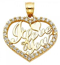 I Love You Open Heart Brilliant Cut Simulated Charm Real 14k Yellow Gold Pendant