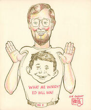 Self Portrait with Alfred E. Newman - MAD Magazine - Signed art by Dave Berg Comic Art