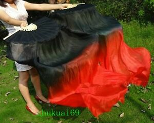 1 Pair(Left+Right) 100% Real silk belly dance fan veil Black / Red (1.5m 1.8m)