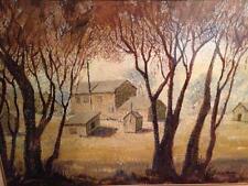 Large Original Paintint Trees Cabin House Signed Lois Boise #32