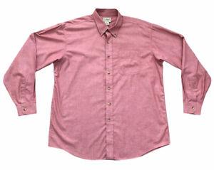 LL Bean Shirt Coral Pink Long Sleeve Button Down Shirt 100% Cotton Size Large