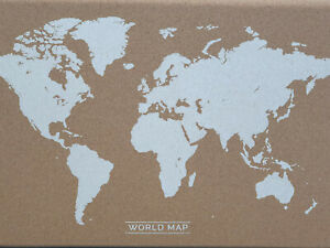 CORK PIN NOTICE BOARD OFFICE MEMO SCHOOL USE 400X600MM WITH WORLD MAP