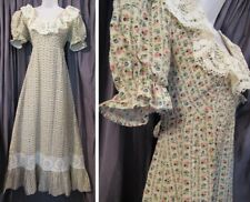 Cute Vtg 1970s OOPS Floral Print COTTON Tie Back MAXI Prairie DRESS Lace Trim S