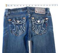 MEK DNM Denim Women's LAGOS BOOT CUT Embellished Distressed Ripped Jeans 29 x 34