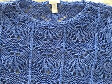 Chico's Long Tunic Lacy Ribbon Open Knit Blue Pullover Sweater Sz 3 XL