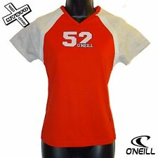 O'NEILL BOARD BABES 'SPORT RAG' WOMENS T-SHIRT RED GREY 8 10 12 BNWT RRP £35