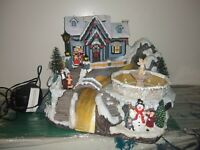 Avon Christmas Fiber optic musical scene with  fountain  change color