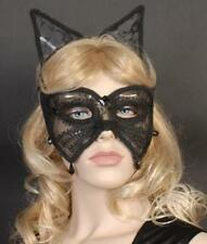 CAT WOMAN & EARS SEXY LACE BLACK EYE MASK~MASQUERADE~BALL~PARTY~EM329~FREE PP UK