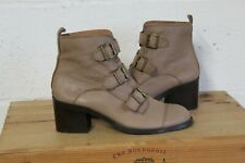 TAN SOFT LEATHER VICTORIAN STEAMPUNK ANKLE BOOTS SIZE 7 / 40 BY OFFICE USED CON