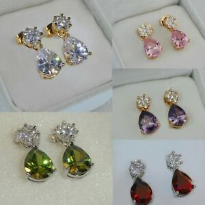 Lovely 18k Gold Filled Drop Dangle Earrings Made With Swarovski Crystals, Boxed