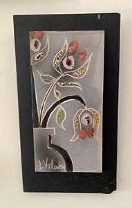 Signed Gilbert Valentin Les Archanges Ceramic Abstract Painted Plate On Wood