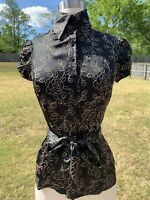 Bebe Blouse Floral Embroidered Button Up Tie Waist Top Small Black Tan Shirt