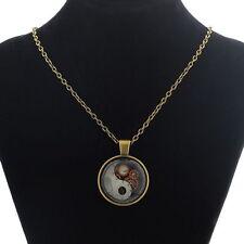 """Steampunk """"ingranaggi e ingranaggi'S Yin e Yang Design Collana Con Pendente A Catena Lunga"""