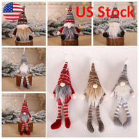 Cute Christmas Ornament Knitted Plush Gnome Doll Xmas Tree Hanging Pendant Gift
