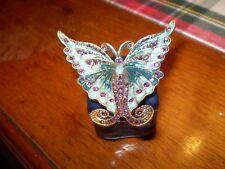 Danish cristal Autrichien céramique papillon bleu Bibelot box.shipped SUIVI
