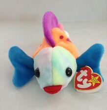 Beanie Babies TY Retired Lips Gish 1999 Blue Purple Pink Orange Easter Toy NWT