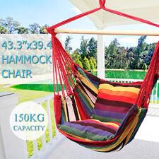 New Hanging Hammock Chair Swing Bed Outdoor Indoor Camping Garden Home 2 Pillows
