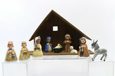 Vtg Goebel Janet Robson Midcentury 1959-61,9 Piece Nativity Set+Wood Manger~Rare