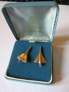 BRITISH AIRWAYS CONCORDE MEMORABILIA H. SAMUEL GOLD BOXED CUFFLINKS LOOK!
