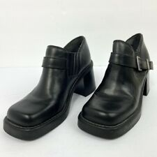 Harley Davidson Womens Size 7 Square Toe Black Leather Chunky Heels Outer Buckle