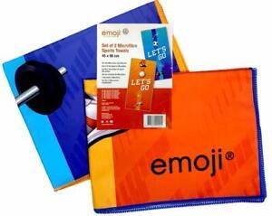 2PCS EMOJI MICROFIBRE QUICK DRY MEDIUM TOWEL Travel Bath Camping Sports Gym Yoga