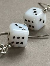 Rockabilly retro tiny glass dice  925 sterling silver earrings