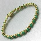 Vintage Estate 14k Solid White Gold 7.68ctw Emerald Diamond Tennis Bracelet