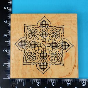 Mandala Heart Design 1529N Holly Berry House Wood Mounted Rubber Stamp