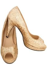 Secret Wishes Glitter Peep Toe Shoes Pumps Costume, Gold, Small-Size 5-6