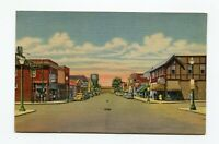 Two Harbors Minnesota First Ave looking West Curteich Linen Postcard 1940s