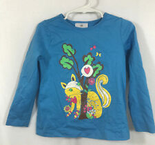 Hanna Andersson Girls 100 3 4 5 Graphic Blue Fox Long Sleeve Shirt Top Tee Heart