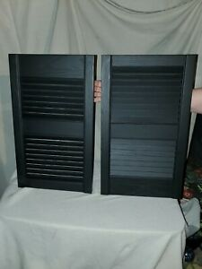 Ply Gem 15 In. X 25 In. Open Louvered Polypropylene Shutters Pair In Black