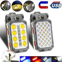 Magnetic USB Rechargeable COB LED Work Light Camping Lamp Folding Flashlight