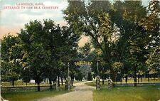 c1910 Postcard: Lawrence KS, Entrance to OakHill Cemetery, Douglas Co. Unposted
