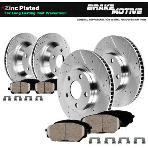 Front+Rear Brake Rotors and Pads For Dodge Ram 1500 Drilled Rotors Pad 5 Lug