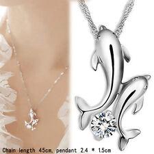 1 PC Silber Doppel Dolphin Strass Kurze Ketten-hängende Halskette DE Neu