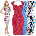 Hawaii Style 1950s 1960s Pin up Wiggle Cotton Retro Vintage Pencil Party Dresses