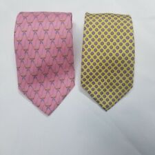 JOS. A. BANK & LAUREN RALPH LAUREN Set of 2 Spring Pink Yellow Silk Ties