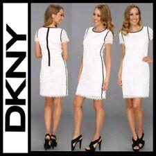 $139 DKNY Short Sleeve White Eyelet Stretch Poplin Black Contrast Dress~10 M3020