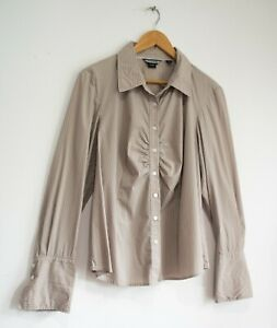 BASQUE taupe stripe button-up ruched shirt wide cuffs Size 16 FREE POST
