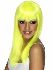 Adult Glamour Glamourama Long Straight Hair with Bangs Neon Yellow Costume Wig