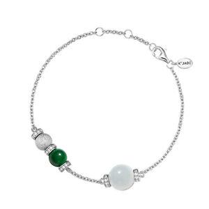 【KOOJADE】White & Green Jadeite Jade Silver Bracelet 《ForeverV3》《Grade A》