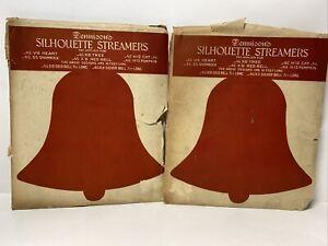 Vtg Dennison's Silhouette Streamers No. 9 Red Bell Set of 2 Orig Envelopes RARE