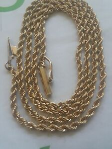 14k Solid Yellow Gold Rope Chain Necklace 5.1 Grams 1.9mm