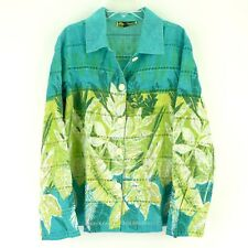 Mirasol Casual Vibrant Floral Keyhole Lace Cotton Blend Hawaiian Style Shirt L
