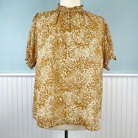 Size 1X Ava And Viv Sheer Puff Sleeve Ruffled Boho Prairie Top Blouse Shirt NWT