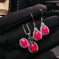 Certified Natural Ruby S925 Silver Sterling White Pendant Ring Earrings Set