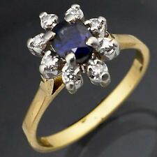 Rich Blue SAPPHIRE with DIAMOND HALO 18k Solid Yellow GOLD CLUSTER RING Sz O1/2